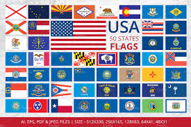 States Flags Usa U0026 States Vector Maps Objects Creative Market