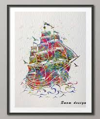 nautical painting original watercolor pirate ship sail boat poster prints picture wall