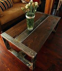 rustic metal coffee table wood and steel table transgeorgia org