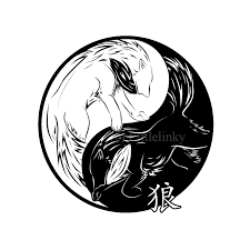 wolves in yin yang design