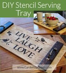 diy tray diy stencil serving tray garden up green
