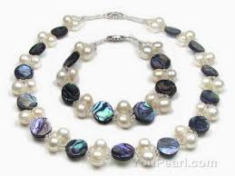 white shell pearl necklace images Abalone paua shell white pearl necklace n bracelet set on sale jpg