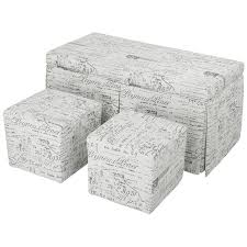 Ottoman Script Langria Beige 3 Script Patterned Fabric Storage Bench