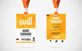 id card graphic design event staff id card set with lanyard vector design and text