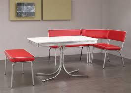 Chrome Retro Dining Corner Nook Set Red By Coaster - Retro dining room table
