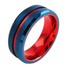 tungsten rings from images Cobalt blue with red line tungsten 8mm ring custom tungsten rings jpg