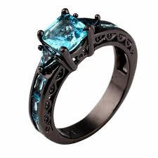 black metal rings images Aquamarine black metal ring blue fire store jpg