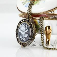cameo antique necklace images Brass antique style openwork cameo rose pocket watch pendant long jpg