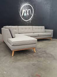 Straight Sectional Sofas Custom Built To Order Mid Century Modern Sectional Chaise Chaise