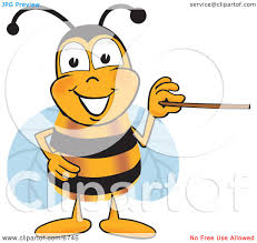 clipart picture of a bee mascot cartoon character holding a
