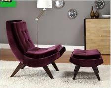 purple velvet lounge chair ottoman set curved stylish luxury tuft