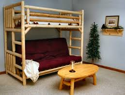 futon bunk bed which are made of white polished wrought iron frame