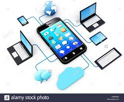 smartphone and home electronic devices connected to cloud stock