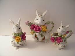 bunny tea set royal albert country roses bunny tea set teapot creamer and