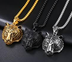 necklace silver gold images Silver gold black stainless steel biker tiger pendant necklace jpg