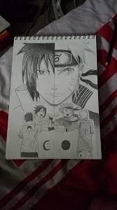 naruto and sasuke sketch i made about a week ago i found the