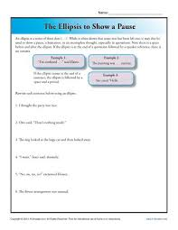 the ellipsis to show a pause punctuation worksheets