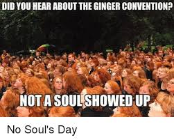 Funny Ginger Meme - did you hear aboutthe ginger convention not a soul showed up