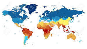 Vector World Map Detailed Vector World Map Of Red Blue Yellow Colors Names