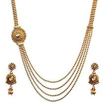 antique necklace chains images Buy beautiful four layer ball chain kundan based one side pendant jpg