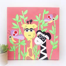 toile chambre b b fille tableau chambre bébé fille zèbre et girafe 30x30cm les girafes