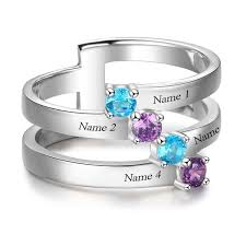grandmothers ring 4 diagonal gems mothers family ring or grandmothers ring