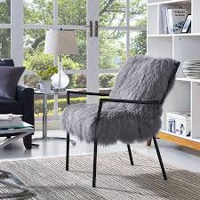 Modern Digs Furniture by Lena Sheepskin Chair Grey Black Finished Iron Modern Digs