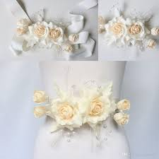 silk satin ribbon real picture artificial flowers made wedding belts bridal