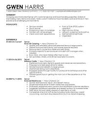 Job Resume Summary Examples by Sample Resume For Cocktail Waitress Job Position