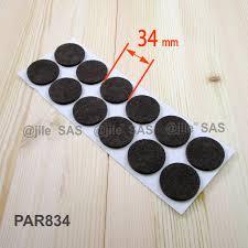34 mm diameter felt pads brown sheet of 12 stick on pads