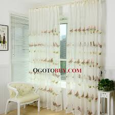 Embroidered Linen Curtains Exquisite Embroidered Sheer Butterfly Curtains Beige Linen