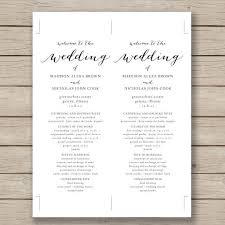 printable wedding programs free printable wedding program templates best template exles