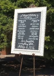 chalkboard program wedding lettered wedding signs before noon paperie