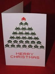 joyous 8 bit greetings space invaders christmas card
