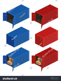 isometric container delivery cargo container cargo stock vector