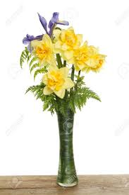 bunch of daffodils with a blue iris flower and green foliage