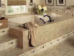 flooring modern bathroom design with cozy bathtub and graff