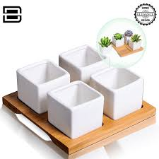 amazon com mini ceramic succulent planters u2013 4 white square pots
