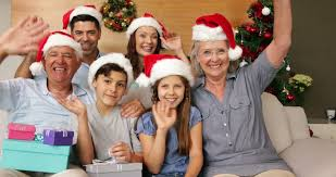 family opening their presents on the at home in