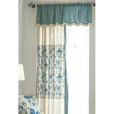 Blue Valance Curtains Floral Print Linen Country Color Block Valance Curtains