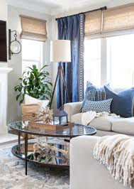 Family Room Curtains Coastal Family Room Blue And White Pillows Gray Walls