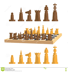 modern minimal chess set and chess board with pieces apart stock