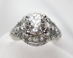 palladium jewelry palladium filigree diamond ring deco diamond engagement ring