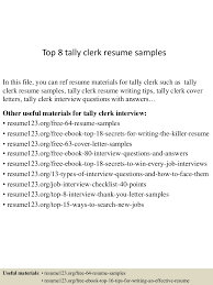 Resume Samples For Job by Top8tallyclerkresumesamples 150508093832 Lva1 App6891 Thumbnail 4 Jpg Cb U003d1431077958