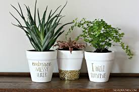 Flower Pots - gold foil lettering on flower pots