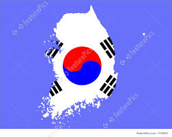 Map Of South Korea Illustration Of Map Of South Korea And Korean Flag