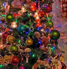 this tree is decorated heavily with many different