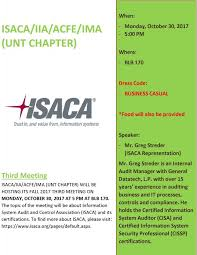 isaca iia acfe ima unt chapter meeting college of business