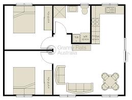 Floor Plan Granny Flat 73 M2 Two Bedroom Granny Flat 2 Bed By Australianhouseplans