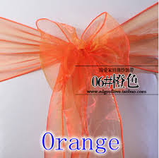 Chair Sashes Wedding Aliexpress Com Buy Orange Colour Chair Sashes Crystal Organza